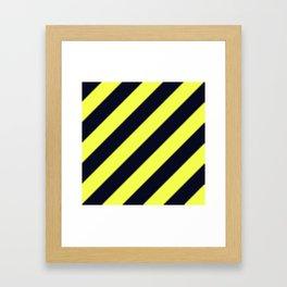 Black and Yellow Diagonal Stripes Framed Art Print