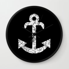 Marble Anchor in Black Wall Clock