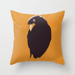 Raven in yellow and black art print Throw Pillow