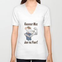 onward V-neck T-shirts featuring Knockout Mice by Bill Nihilist