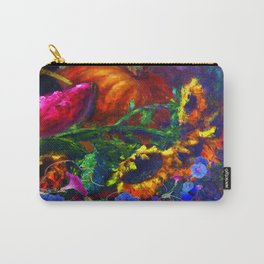 Sunflowers, Morning Glories Still Life In Blue-Grey Carry-All Pouch