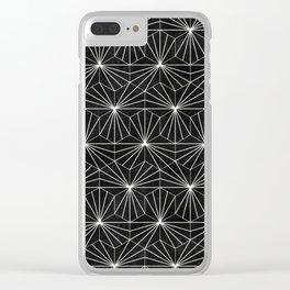 Hexagonal Pattern - Black Concrete Clear iPhone Case