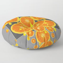 DRIPPING JUICY ORANGE SLICES ABSTRACT MODERN ART Floor Pillow