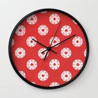 poker Wall Clocks featuring Poker Dots by Leo Canham