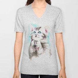 Happy Prayig Kitty - Cat Watercolour Unisex V-Neck