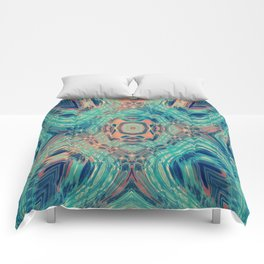Tropical Teal and Coral Leaf Fashion Design Comforters