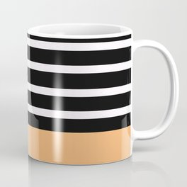 Black & White Stripes with Tangerine Patch Coffee Mug