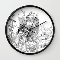 bouletcorp Wall Clocks featuring Promenade dans la montagne - Walking in the mountains by Bouletcorp