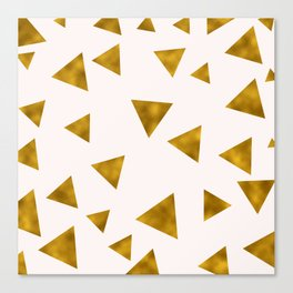 Soft Pink And Rustic Gold Triangles Canvas Print