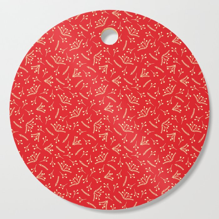 Christmas Branches and Berries in red and yellow Cutting Board