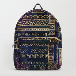 Tribal Ethnic pattern gold on painted texture Backpack