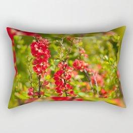 Chaenomeles shrub red flowering Rectangular Pillow