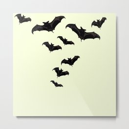 MYRIAD BLACK FLYING BATS DESIGN Metal Print