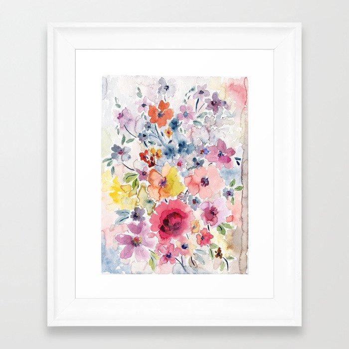 Summer watercolor flowers Framed Art Print