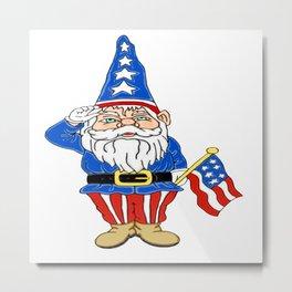 Fantasy Patriotic Gnome Metal Print