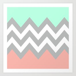 DOUBLE COLORBLOCK CHEVRON {MINT/CORAL/GRAY} Art Print