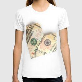 ten-dollar bill folded in the shape of a heart T-shirt