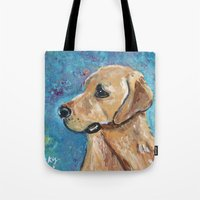 lab Tote Bags featuring Yellow Lab by gretzky