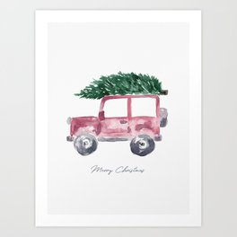 Merry Christmas - Red Jeep Wrangler with Christmas Tree Art Print