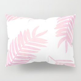 Pink Palm Leaves  |  White Background Pillow Sham