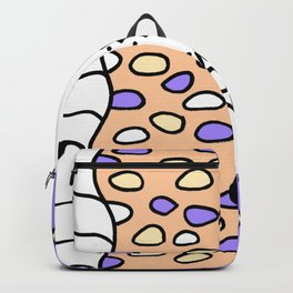 Doodle Art Drawing - Seagulls Rocks and Waves - Purple White Backpack