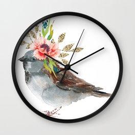 Boho Chic wild bird With Flower Crown Wall Clock