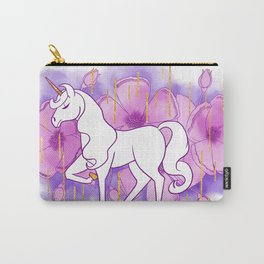 Floral Unicorn Carry-All Pouch