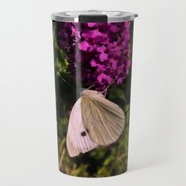 Small white butterfly on buddleia Travel Mug