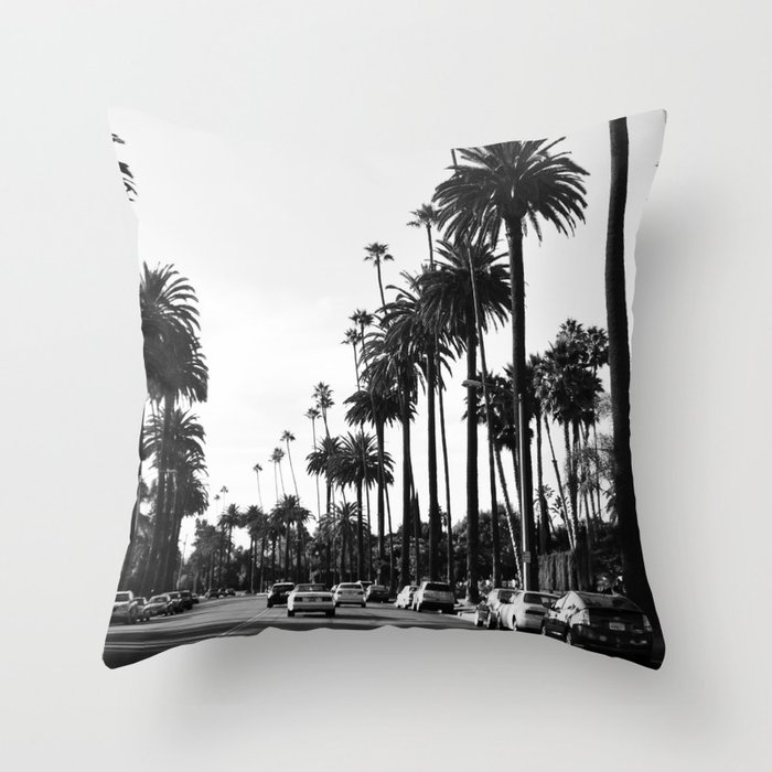 Los Angeles Black and White Throw Pillow
