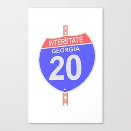 Interstate highway 20 road sign in Georgia Canvas Print