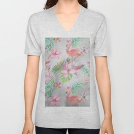 Pink lilac green watercolor hand painted tropical floral flamingos Unisex V-Neck