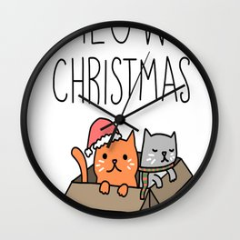 Meowy Christmas Cat Holiday Pun Wall Clock