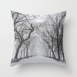 Central Park during Blizzard of 2015 Throw Pillow