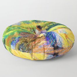 Umberto Boccioni - Woman in the garden - Digital Remastered Edition Floor Pillow