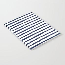 Navy Blue Stripes on White Notebook