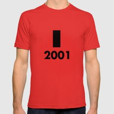 2001: A Minimalist Space Odyssey SMALL Mens Fitted Tee Red