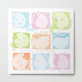 Cat Blobs Metal Print