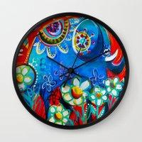ellie goulding Wall Clocks featuring Ellie by Anna Bartlett