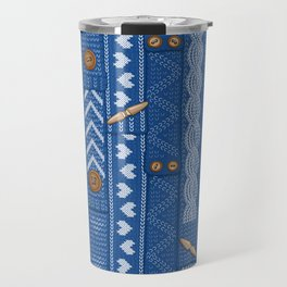 Scarves Knitted Buttoned - Blue Travel Mug