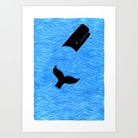 Whale in the Sea Art Print