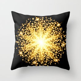Abstract gold glow light effect Throw Pillow