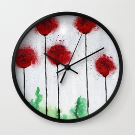 Red Wildflowers Wall Clock