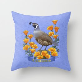 California State Bird Quail and Golden Poppy Throw Pillow
