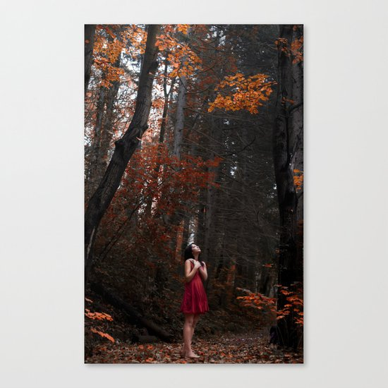 Girl in the red nature Canvas Print