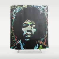 rock and roll Shower Curtains featuring Rock and Roll Blues by Matt Pecson