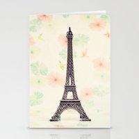 eiffel tower Stationery Cards featuring Eiffel Tower by Caroline Mint