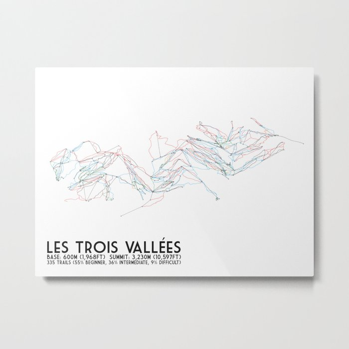 Les Trois Vallees, Savoie, France - European Colors - Minimalist Trail Art Metal Print
