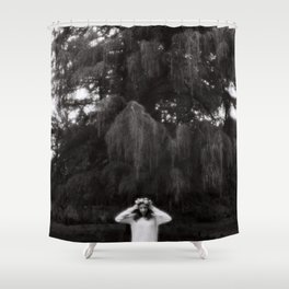 Girl black and white Shower Curtain