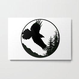 Raven & Forest circular silhouette Metal Print
