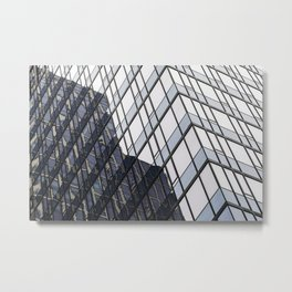 blue glass and steel abstract urban design Metal Print